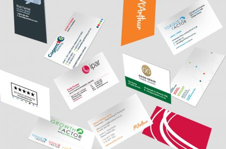 Various business cards MOO has designed and printed