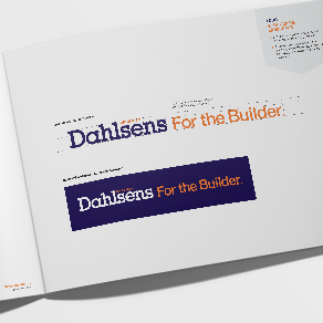Dahlsens graphic design style guide opened to front inner page