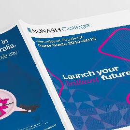 Monash College course guide brochure graphic design example
