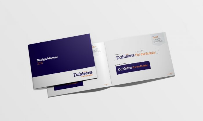 Dahlsens graphic design style guide front cover and front inside page