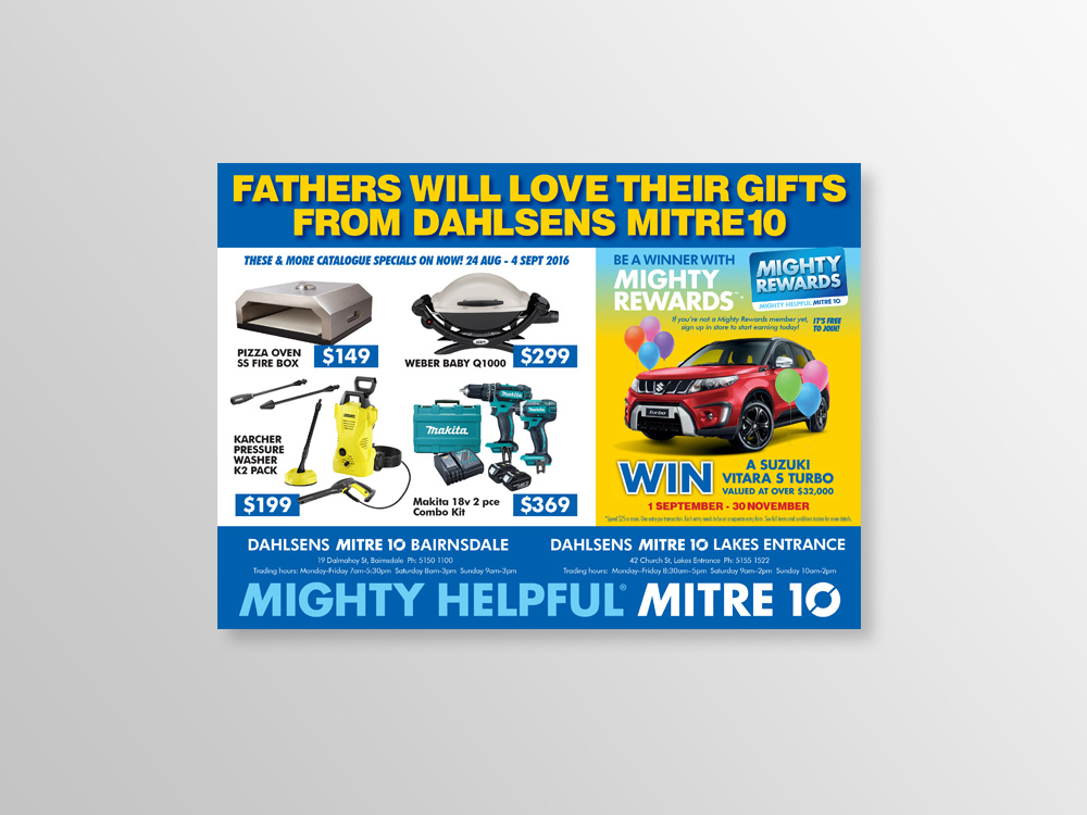 Graphic design example Mitre10 Father's Day advertisement