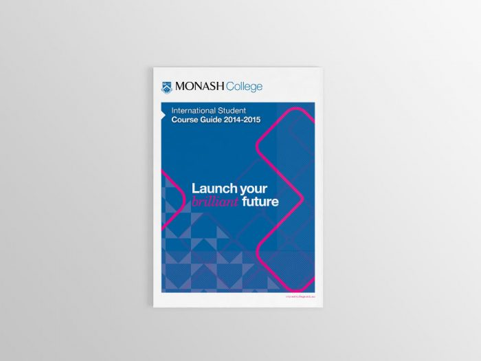 Monash College course guide design front cover