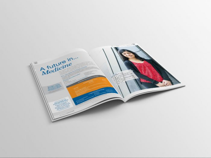 Monash College course guide brochure design open on a table