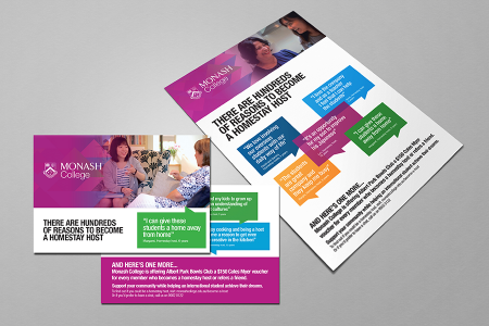 Examples of Monash College homestay posters and ads designed by MOO