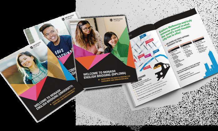 Spread of Monash College brochures designed by MOO