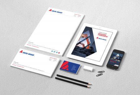 Delta business cards, notepads, website and logo following redesign and rebranding by MOO marketing