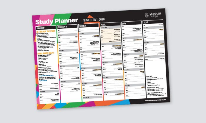 Example of a Monash University study 2018 planner designed by MOO