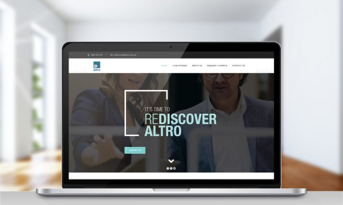 New website and marketing campaign for Altro displayed on a computer monitor