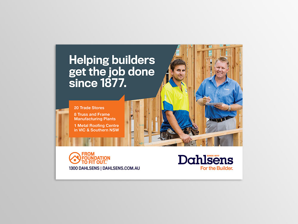 Dahlsens advertisement example feature 2 tradies at work