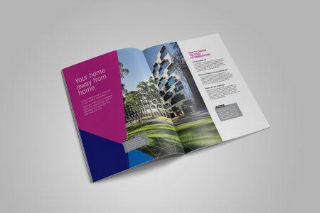 Opened Monash University accommodation brochure designed by MOO