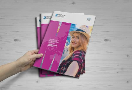 Examples of Monash booklets promoting studying abroad, designed by MOO